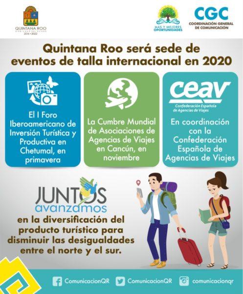 Quintana Roo será sede de dos cumbres de turismo en 2020