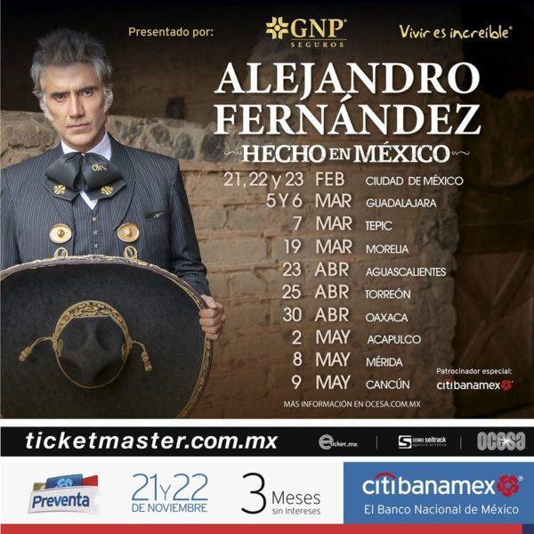 Alejandro Fernández vuelve a Cancún en 2020, aquí la información