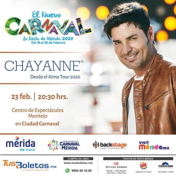 Chayanne vuelve a Mérida en el Carnaval 2020