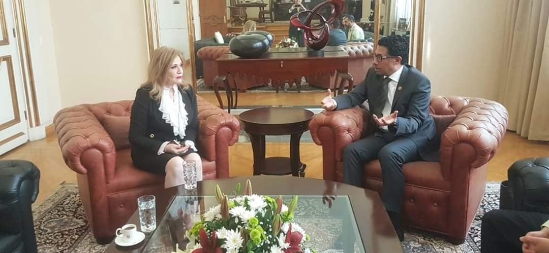 Secretaria de Desarrollo Económico, Rosa Elena Lozano, con el Embajador de los Emiratos Árabes, Ahmed Almenhali.