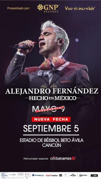 Concierto de Alejandro Fernández en Cancún ya tiene nueva fecha