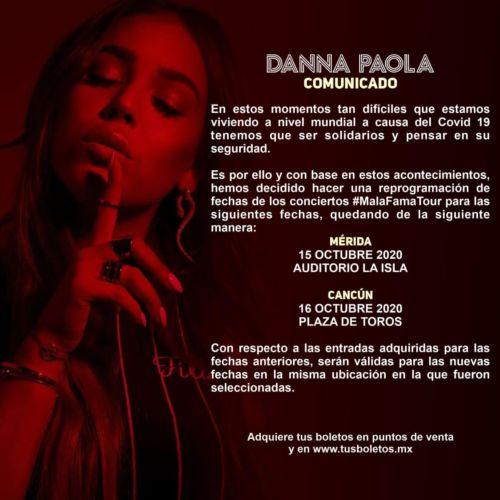Nuevas fechas de conciertos de Danna Paola en Cancún y Mérida