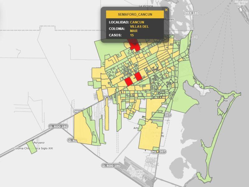 Actualización: Colonias de Cancún con más casos activos de Covid-19