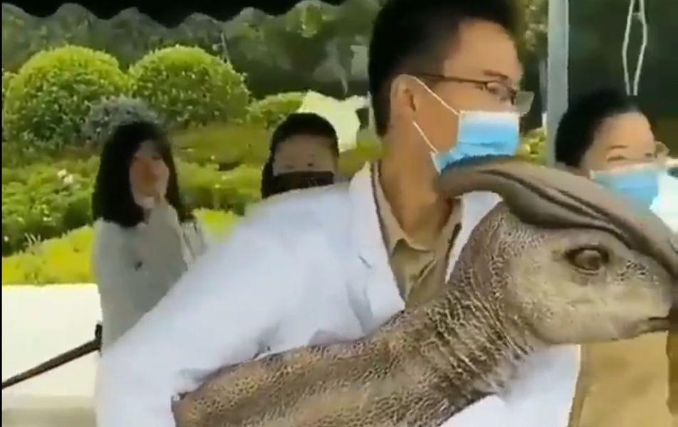 Viralizan video de dinosaurio bebé clonado en China