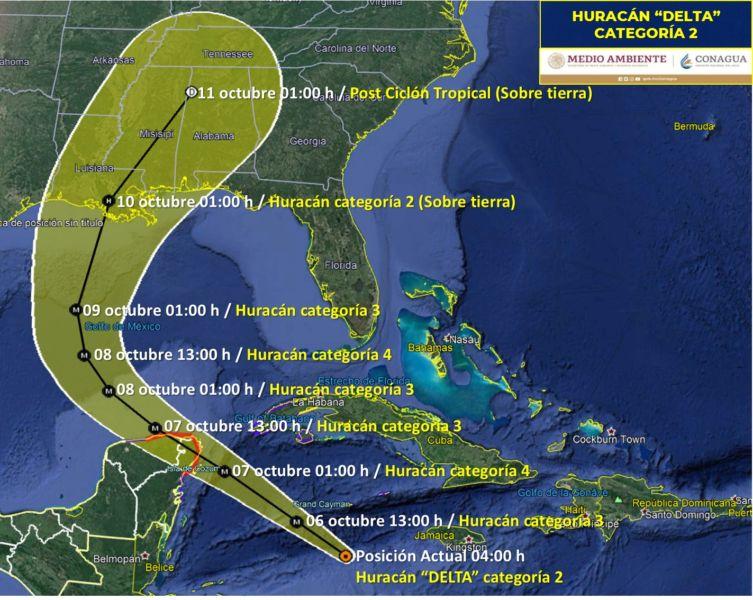 Trayectoria del Huracán Delta categoría 2 ¿Cuándo impactará a Cancún?