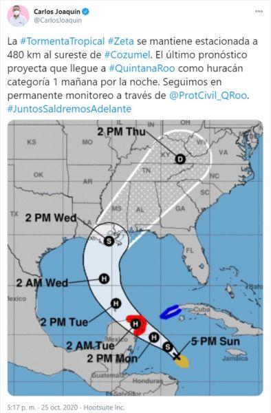 Actualización: Zeta llegará como huracán a Quintana Roo mañana
