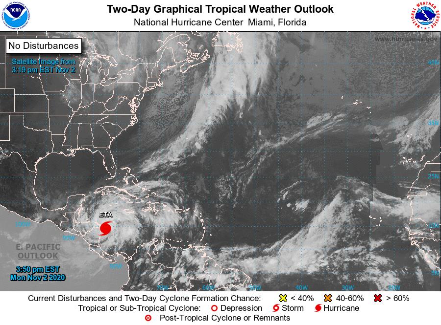 El huracán Eta ya es categoría 4, esta es su trayectoria pronosticada