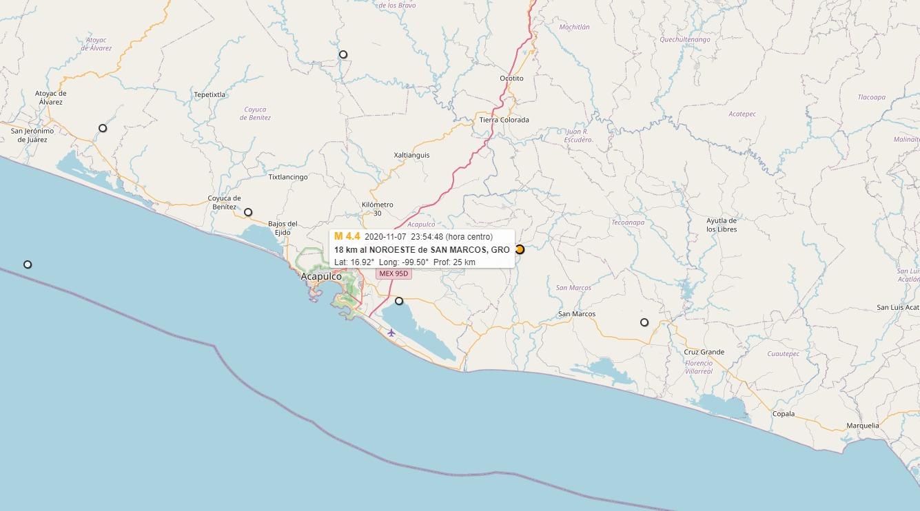 Se registra sismo en Acapulco con magnitud de 4.4