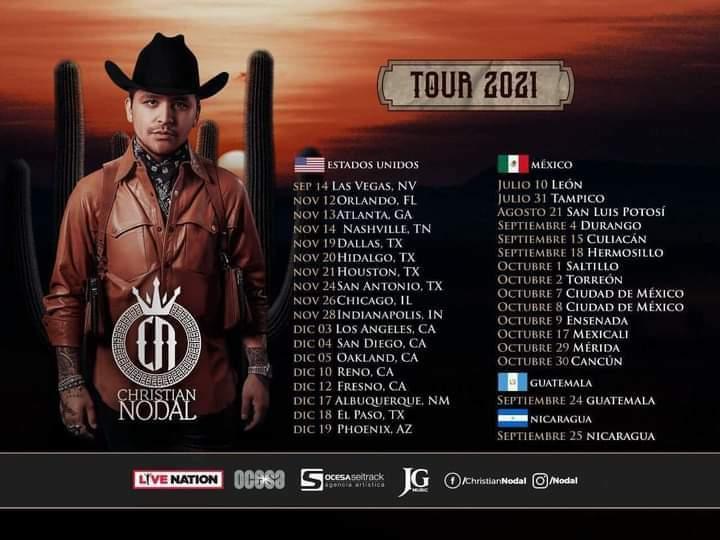 Anuncian conciertos de Christian Nodal en Cancún y Merida