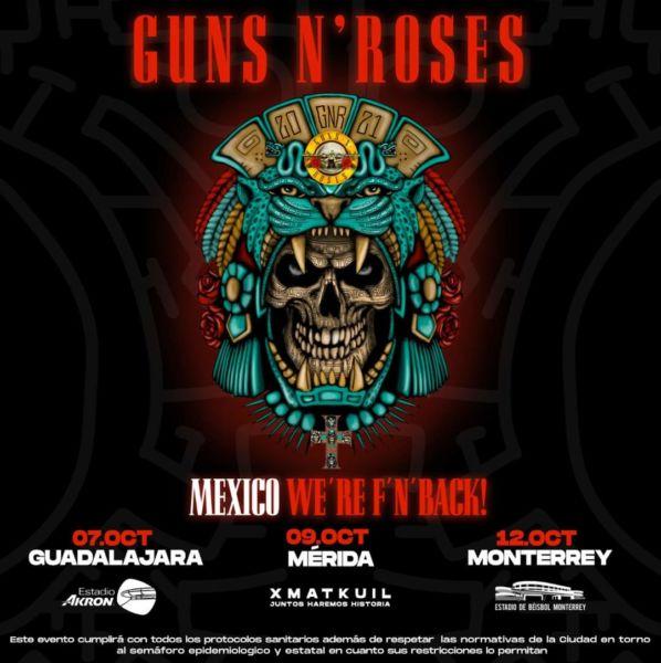 Anuncian concierto de Guns N' Roses en Mérida este 2021